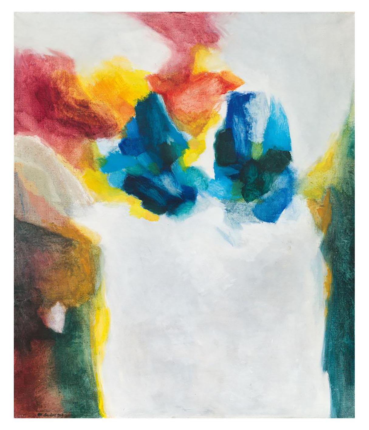 """Mario Decleva """"Zwei blaue Formen"""" 1963, Öl auf Leinwand 120 x 100 cm"""