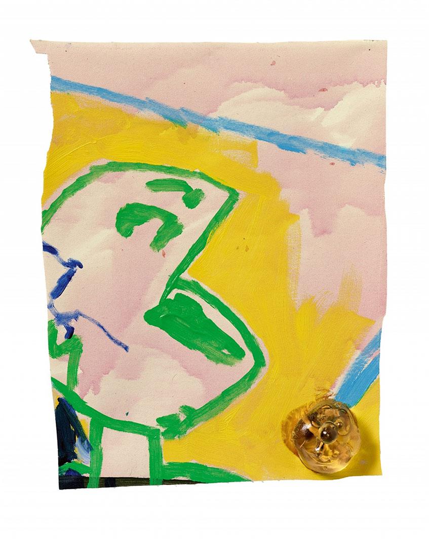 Martin Kippenberger  Vorsprung durch Kippenberger 1991, Öl, Lack und Gießharz auf Leinwand, 48 x 39 x 5 cm Aus der Werkreihe Heavy Burschi #6/25 Ausstellung: Köln 1991 (Kölnischer Kunstverein), Heavy Burschi, exhib.cat. Köln 2001, Museum für Angewandte Kunst Wertwechsel, Zum Wert des Kunstwerks