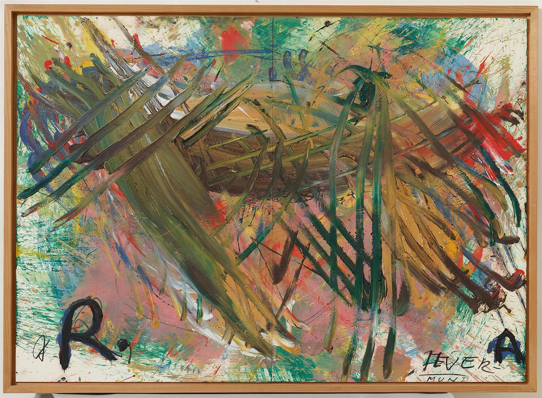 Arnulf Rainer, Feuer-Mund, 1981, Öl und Ölkreide auf Platten, 73 x 102 cm